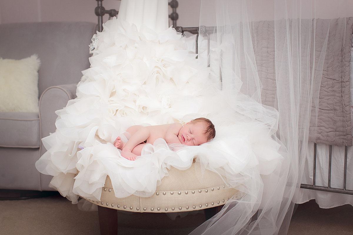 Newborn Photo with Wedding Dress Reading PA