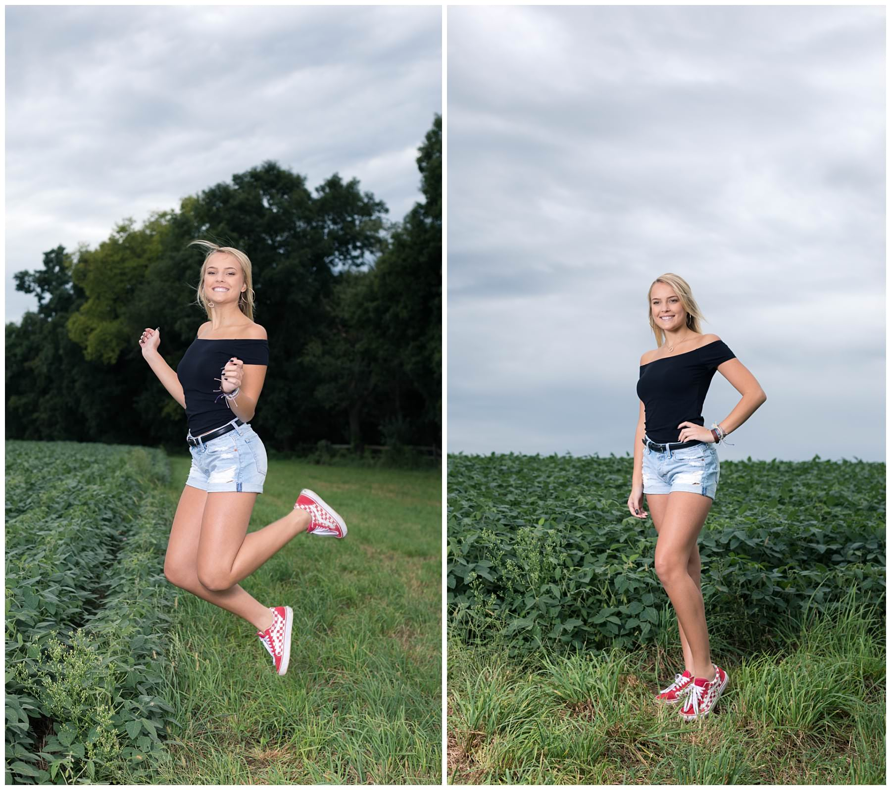 Outdoor senior portraits in a field jumping