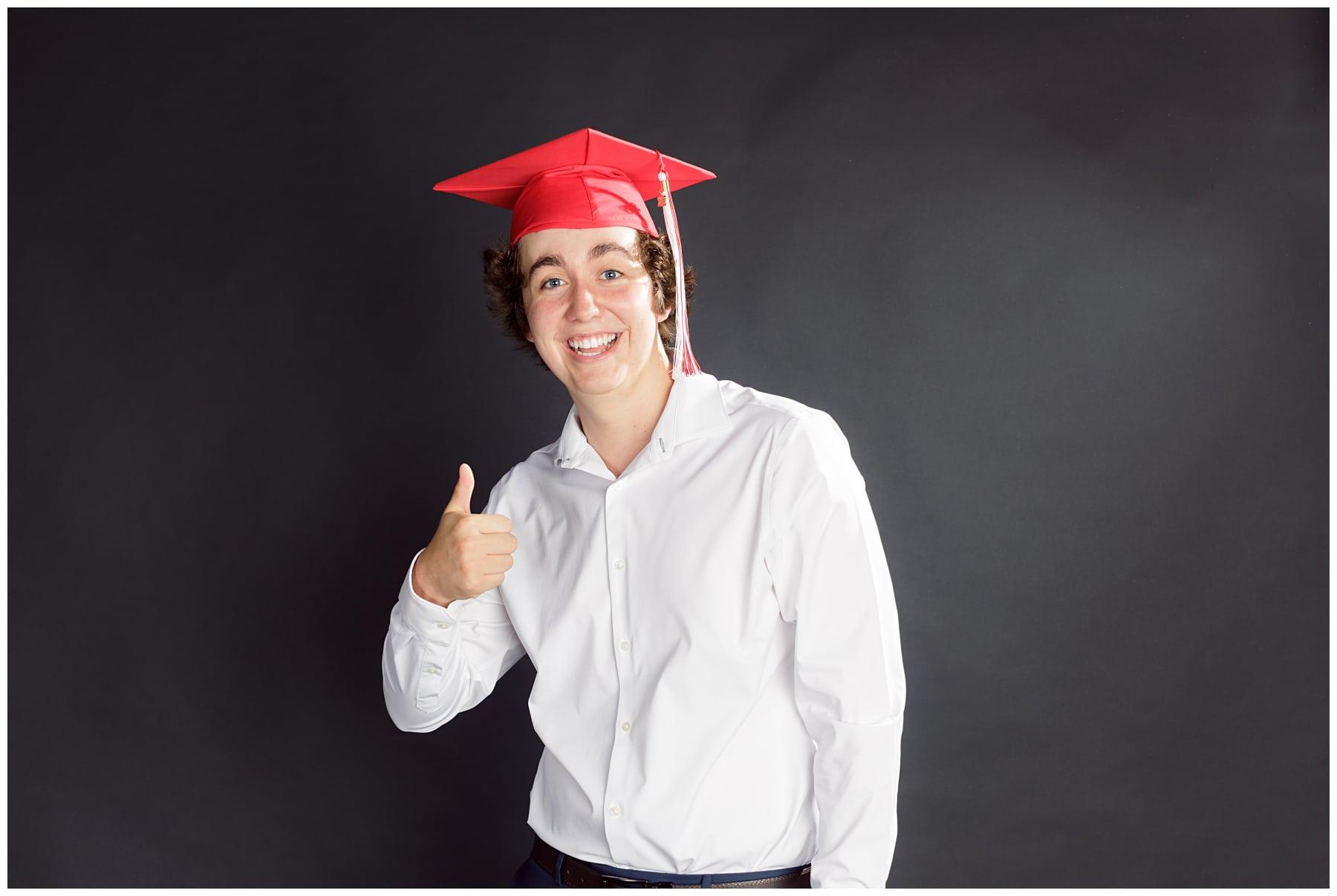 high school graduate photo in studio