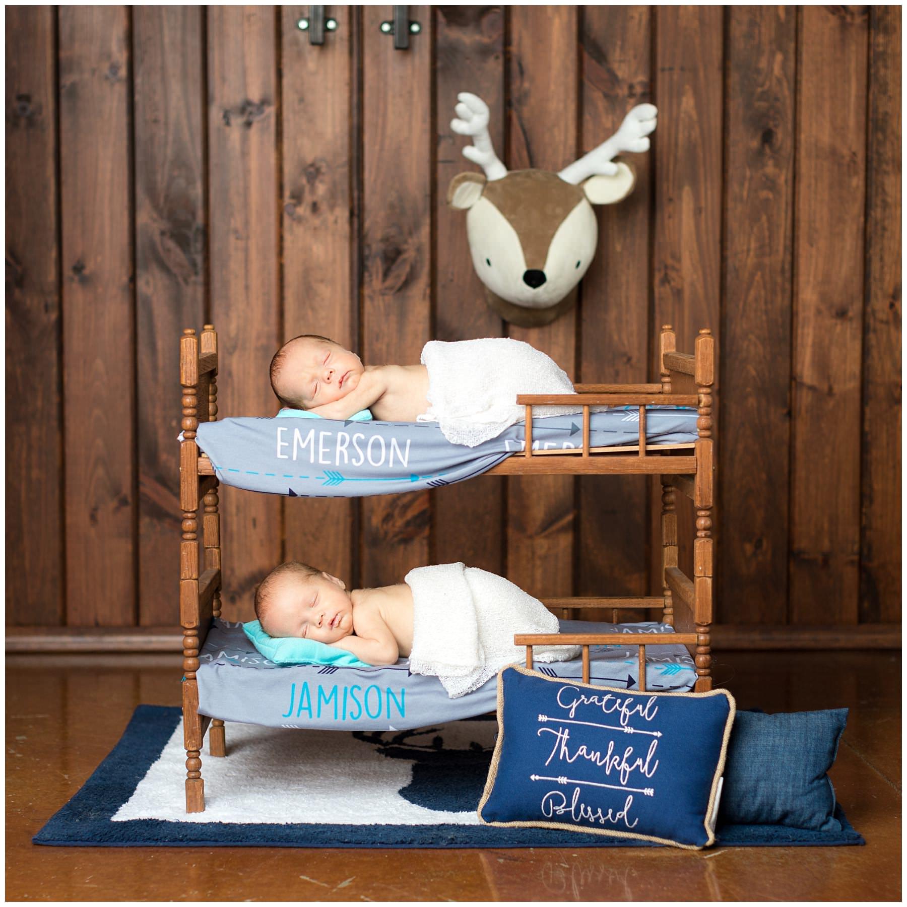 bunkbed scene with newborn twins