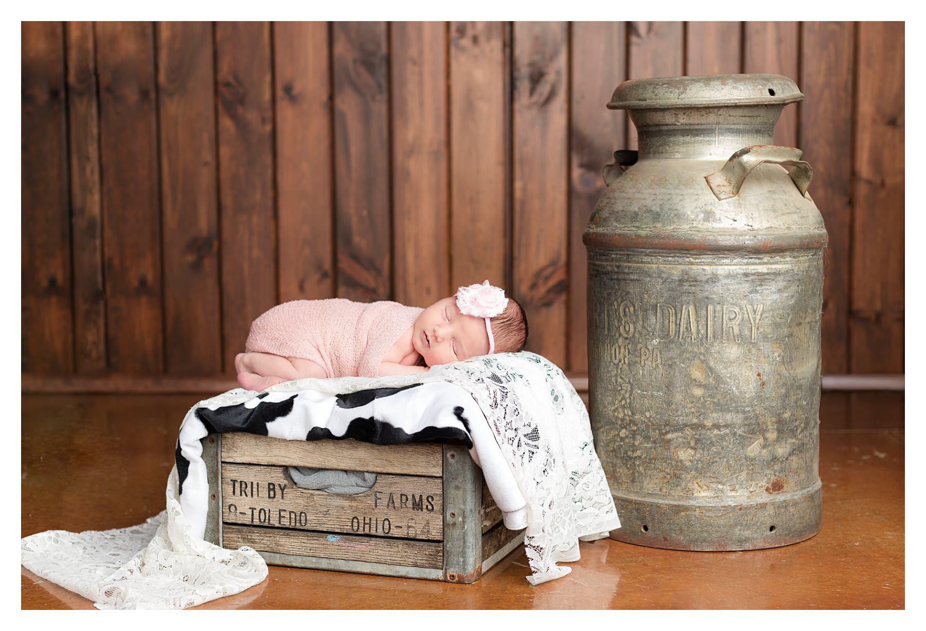 vintage milk themed newborn photo idea