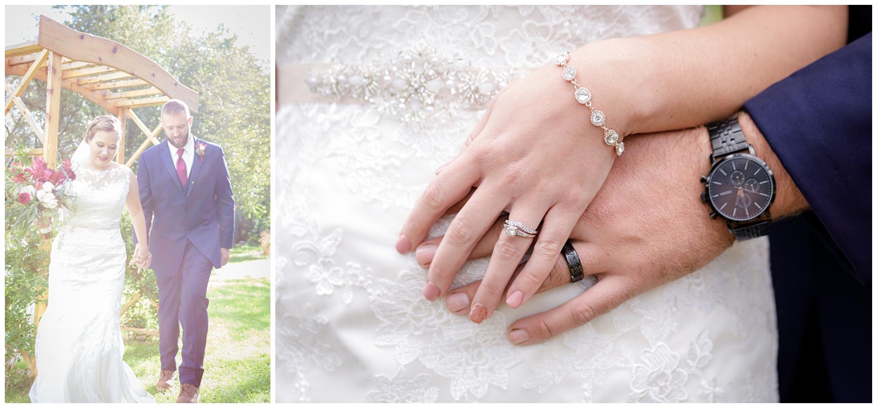 bride and groom hands shot
